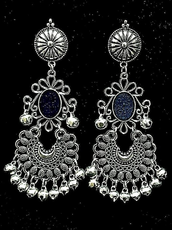Gift Black Panted Indian Bollywood Silver Oxidized Mugal Jhumka Jhumki Earrings