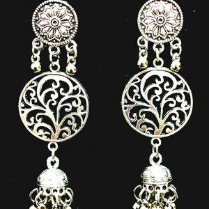 Party wedding Girl Friend Silver Oxidized Mugal Jhumki Long Designer Earrings