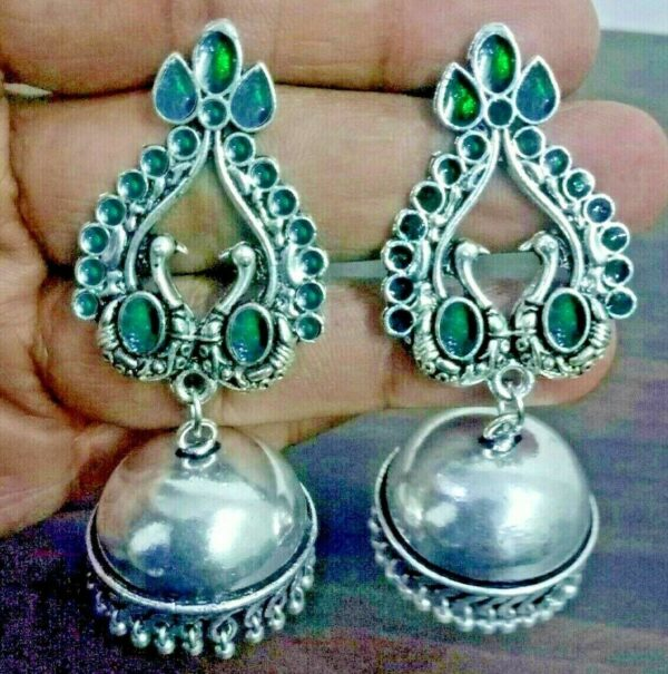 Traditional Bollywood Green Silver Plated Oxidized Jhumki Earrings Drop / Dongle