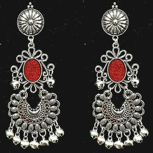 Indian Traditional Red Panted Gungroo Silver Oxidized Jhumka Jhumki Earring