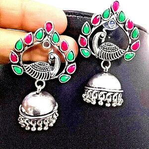 Red Green Stone Bollywood Silver Plated Oxidized Peacock Jhumki Earrings