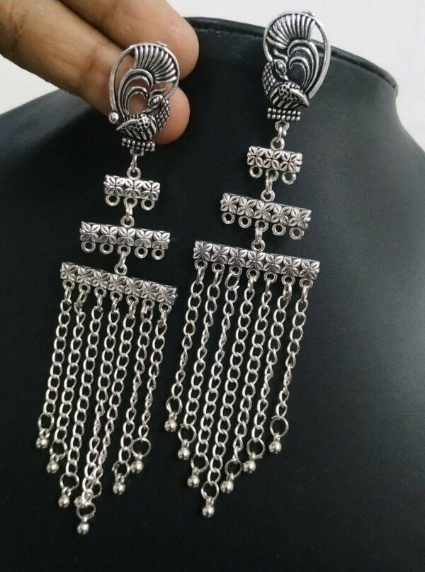 Triple Layer Peacock Silver Plated Oxidized Jhumki Earrings Drop / Dongle