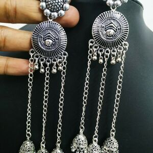 Traditional Maa Durga Long Silver Plated Oxidized Jhumki Earrings Drop / Dongle