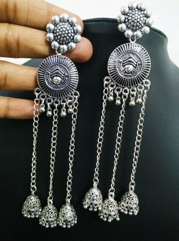 Traditional Maa Durga Long Silver Plated Oxidized Jhumki Earrings Drop / Dongle