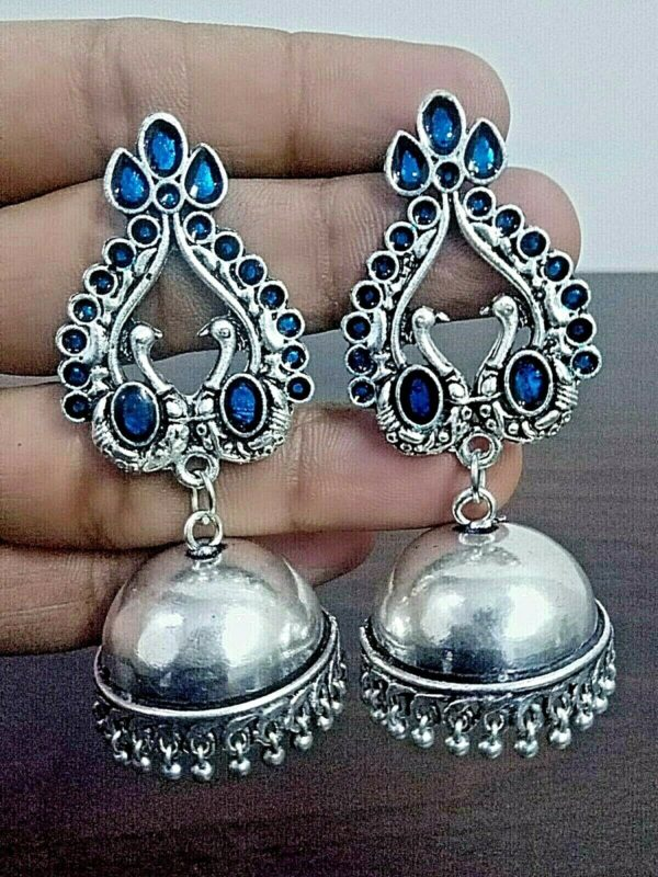 Traditional Bollywood Silver Plated Oxidized Jhumki Earrings Peacock Blue Panted