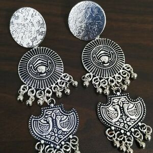 Maa Durga Flower Peacock Silver Plated Oxidized Jhumki Earrings Drop / Dongle