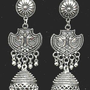 Peacock Silver Plated Gift for Girlfriend Oxidized Mugal Jhumka Jhumki Earring