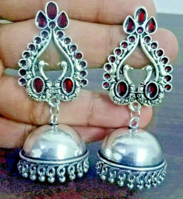 Traditional Bollywood Silver Plated Oxidized Jhumki Earrings Red Panted Peacock