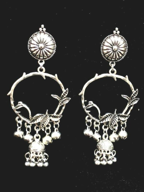 Indian Leaf Silver Bollywood Oxidized Mugal Jhumka Jhumki Earring Best Gift