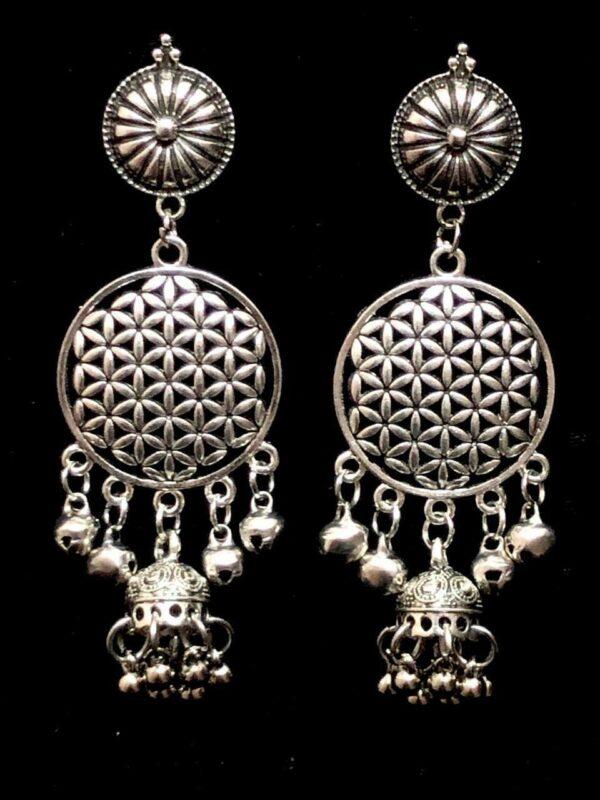 Party Wedding Birthday Gift Silver Oxidized Mugal Jhumka Long Jhumki Earrings