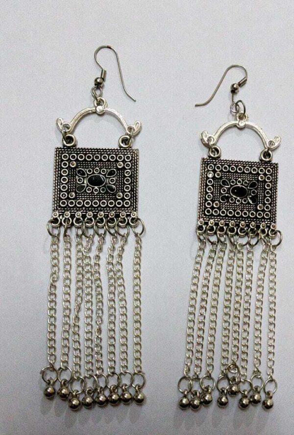 Afghani Tribal Jewelry Drop Dangle German Silver Plated Oxidized Choker Earring