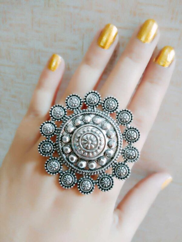 Big Size Bollywood Oxidized Silver Plated Adjustable Ring Jewelry women