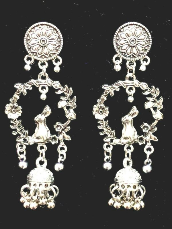Rabbit Flower Leaf Silver Oxidized Mugal Jhumka Jhumki Earrings Best Girl Gift