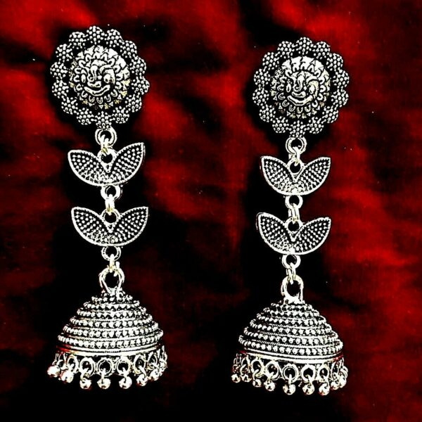 Long Lord Ganesha Indian Bollywood Silver Oxidized Mugal Jhumka Jhumki Earrings