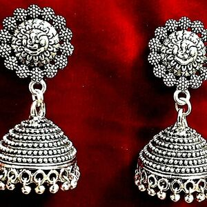 Round Lord Ganesha Beautiful Ladies Silver Oxidized Mugal Jhumka Jhumki Earrings
