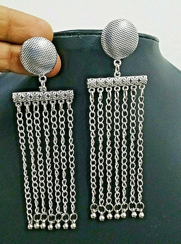 Traditional Bollywood Long Silver Plated Oxidized Jhumki Earrings Drop Chain