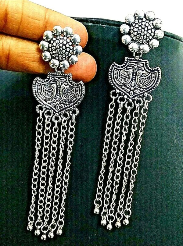 Long Peacock Silver Plated Oxidized Jhumki Earrings Drop / Dongle Jhumka Gift