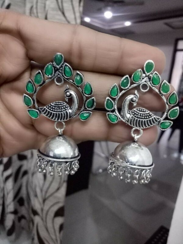 Peacock Traditional Bollywood Silver Plated Oxidized Jhumki Green Stone Earring