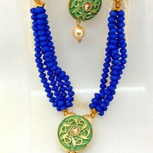 Blue Green Indian Long Necklace Set Gold Plated Bridal Pearl Mala Set