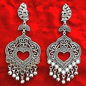 Peacock Bollywood Oxidized Silver Plated jhumka Handmade jhumki Dangle Earrings