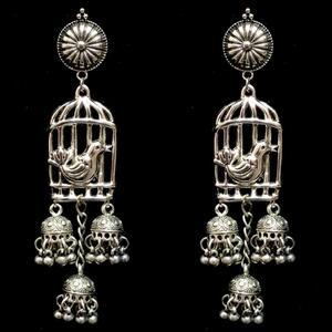 Indian Traditional Bird Cage Silver Oxidized Mugal Jhumka Jhumki Earrings