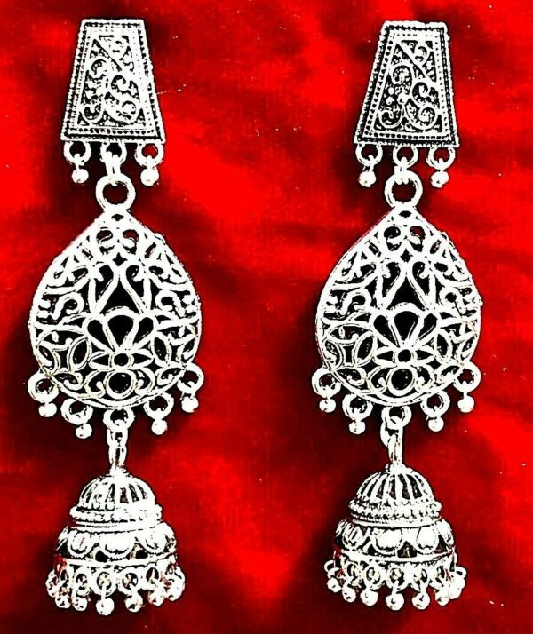 Retro Women Traditional Tribal Oxidized Jewelry Jhumka Earrings Indian Bollywood