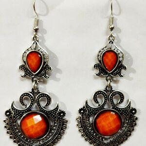 Indian Kashmiri Oxidized Jhumki Mugal Silver Plated Afghani Earring Orange - B02