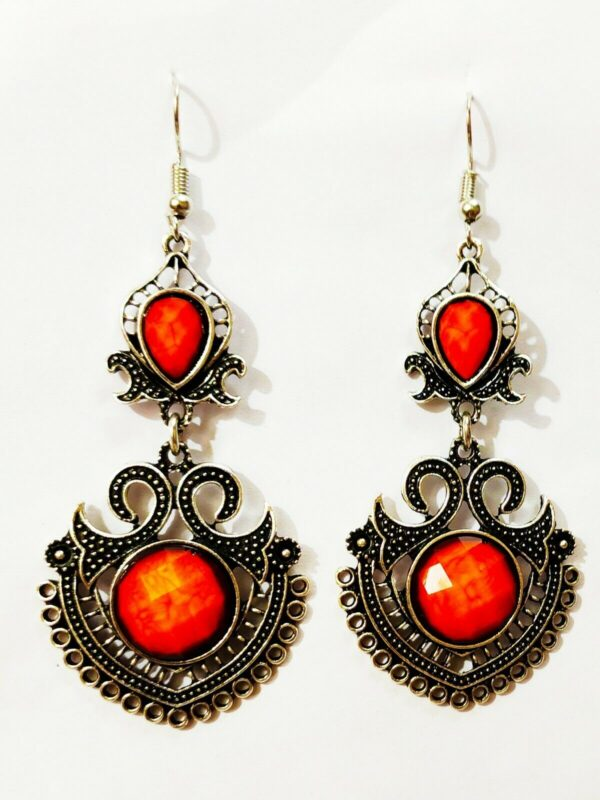 Indian Kashmiri Oxidized Jhumki Mugal Silver Plated Afghani Earring Orange - B02