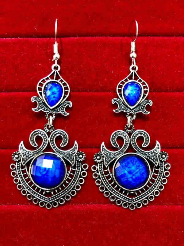 Indian Kashmiri Oxidized Jhumki Mugal Silver Plated Afghani Earring Blue - B02