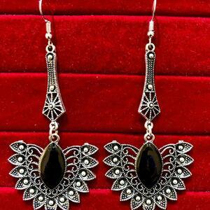 Indian Kashmiri Oxidized Jhumki Mugal Silver Plated Afghani Earring Black LN B02