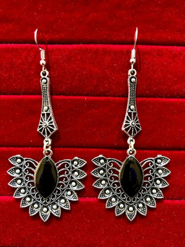 Indian Kashmiri Oxidized Jhumki Mugal Silver Plated Afghani Earring Black LN B02