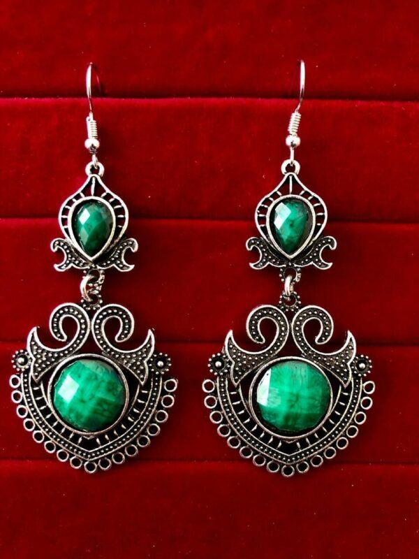 Indian Kashmiri Oxidized Jhumki Mugal Silver Plated Afghani Earring Green - B02