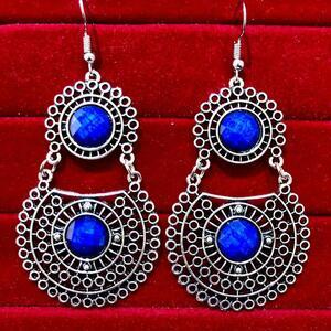 Indian Kashmiri Oxidized Jhumki Mugal Silver Plated Afghani Earring Blue RN B02