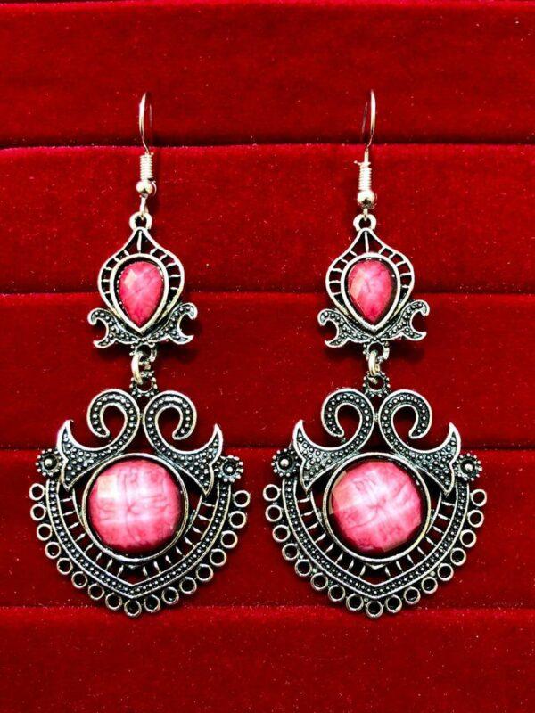 Indian Kashmiri Oxidized Jhumki Mugal Silver Plated Afghani Earring pink - B02