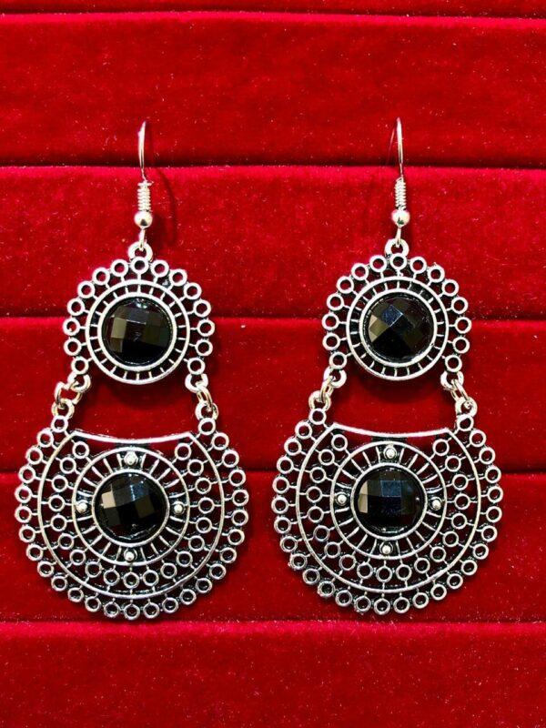 Indian Kashmiri Oxidized Jhumki Mugal Silver Plated Afghani Earring Black RN B02