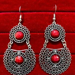 Indian Kashmiri Oxidized Jhumki Mugal Silver Plated Afghani Earring Red RN B02