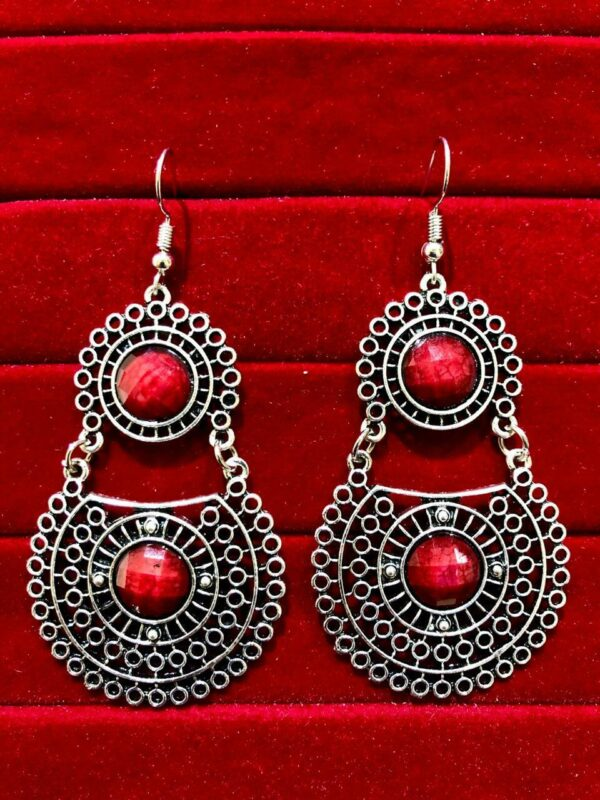 Indian Kashmiri Oxidized Jhumki Mugal Silver Plated Afghani Earring Red RN B02
