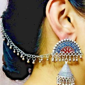 Blue Red Afghani Tribal Silver Oxidized Plated Drop / Dongle Earrings with Chain