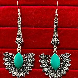 Indian Kashmiri Oxidized Jhumki Mugal Silver Plated Afghani Earring Green LN B02