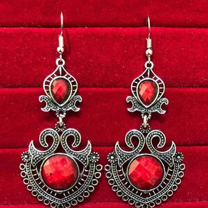 Indian Kashmiri Oxidized Jhumki Mugal Silver Plated Afghani Earring Red - B02