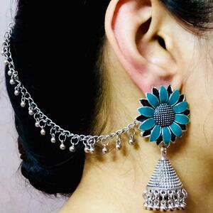 Silver Oxidized Plated Indo Afgani Jewelry Drop / Dongle Earrings with Chain