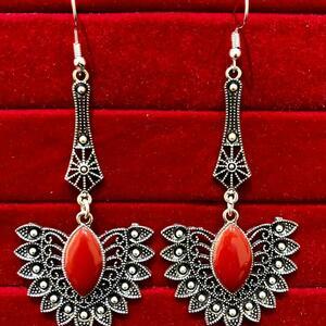 Indian Kashmiri Oxidized Jhumki Mugal Silver Plated Afghani Earring Red LN B02