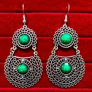 Indian Kashmiri Oxidized Jhumki Mugal Silver Plated Afghani Earring Green RN B02
