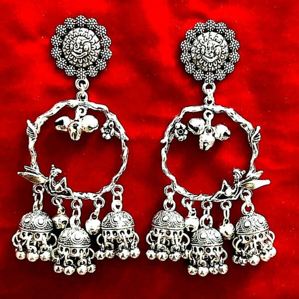 New Fashion Traditional Tribal Oxidized Jhumka Indian Bollywood Jewelry Earrings