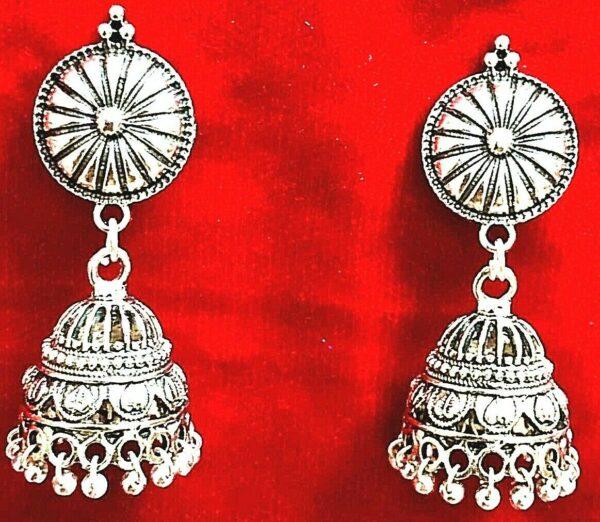 Fashion Indian Silver Plated Oxidized Latest Design Jumka Jumki Earring Women