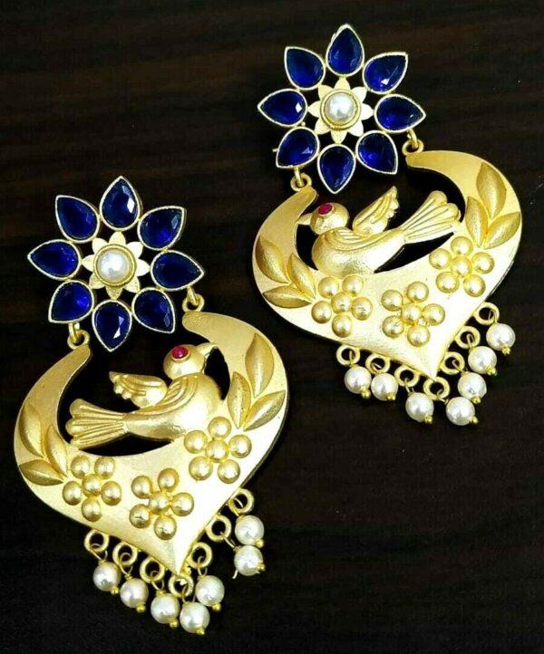Bird Shape Bollywood Gold Plated Blue Stone White Pearl Oxidized Jhumki Earring
