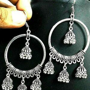 Ethnic Style Classy Jhumki Bollywood Oxidized Drop Hook Partywear Silver Earring