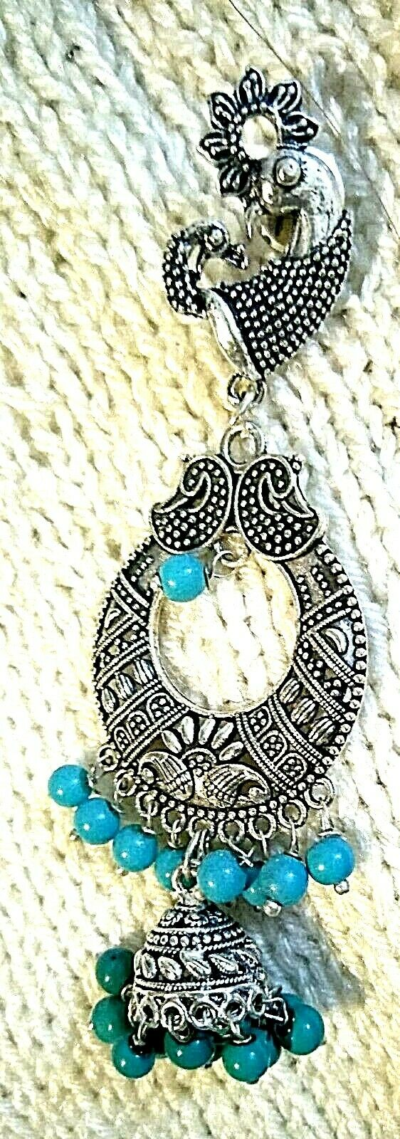 Indian Pea Cock German Silver Plated Oxidized Earring Boho Style