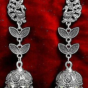 Long Indian Traditional Bollywood Silver Oxidized Mugal Jhumka Jhumki Earrings