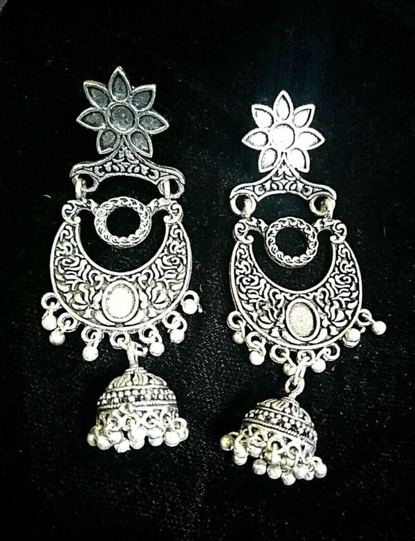 Indian Kashmir Mughal Jhumka German silver Plated Oxidized Earrings Bollywood